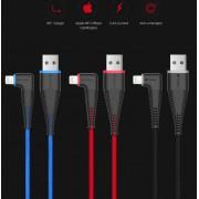 Comma Bingo MFI Angled Cable - изключително здрав и качествен Lightning кабел за iPhone, iPad, iPod (150 см.) (черен)