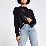 River Island Womens Black puff sleeve cropped blazer (6)