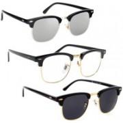 Phenomenal Clubmaster Sunglasses(Black, Clear, Silver)