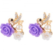 Jazz Fashion Earring Gold Plated Alloy Beautiful lavender Flower Design Party wear Charming Earring for Girls Ladies