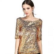 Dames Eenvoudig Street chic Zomer T-shirt,Uitgaan Grote maten Effen Ronde hals Polyester Medium
