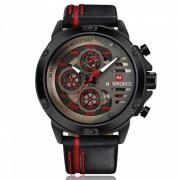 NAVIFORCE 9110 Reloj de cuarzo de pulsera de cuero deportivo para hombre? negro? rojo (sin caja de regalo)