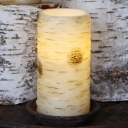 Best Season Large LED candle Anjuli with a birch look, 15 cm