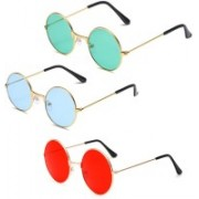 Elligator Round Sunglasses(Green, Blue, Red)