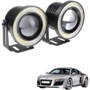Auto Addict 3.5 High Power Led Projector Fog Light Cob with White Angel Eye Ring 15W Set of 2 For Audi R8
