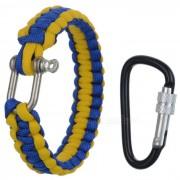 Pulsera de la cuerda al aire libre emergencia paracaidas de la supervivencia w- amarillo + azul