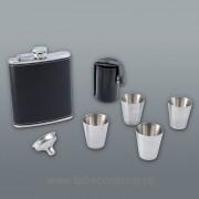 Set Flachmann Black plosca alcool 240ml, cu 4 paharele, palnie si husa