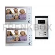 Coppia Videocitofono bifamiliare LCD FOTO RECORDER DVR registratore immagini