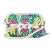 Kisses of Pearl Amalia Witte Crossbody Tas met Tropical Print