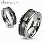 6 mm - Fekete és ezüst színű, cirkónia köves nemesacél gyűrű ékszer