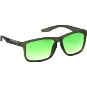 Hrinkar Rectangular, Retro Square Sunglasses(Green, Clear)
