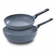 BK Blue Label Granite pannenset - koekenpan & wok - set van 2