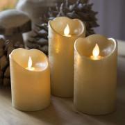 Kaemingk Zestaw 3 świec bożonarodzeniowych LED złoty