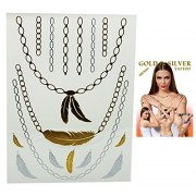 Flash Tattoo Gold and Silver Colored Feather Necklace Temporary Tattoos