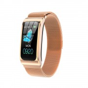 AK12 1.14 Color Screen HD IP67 Waterproof Sport Smart Watch - Gold/Metal Strap