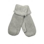 Emi Ross dámské pletené palčáky s kožíškem světle šedá