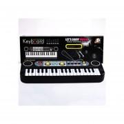 Teclado Piano Electrónico Musical Juguete De Micrófono Registros-Negro