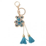 Generic Tassel Bear Charm Pendant Crystal Purse Bag Car Phone Key Chain Ring Keychain Keyring Blue