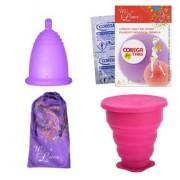 Промопакет менструална чашка MeLuna, сгъваема дезинфекцираща чаша и 8 броя таблетки за стерилизация Размер XL Софт (Soft) Пръчица