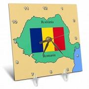 3dRose LLC el Mapa y la Bandera de Rumanía con Rumanía Impreso en inglés y rumano 6por 6-Inch Reloj de computadora