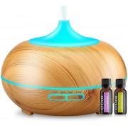 O'dor® Aroma Diffuser 300 ml Voor Aromatherapie - Inclusief Lemongrass en Lavender Etherische Olie - Verdamper - Luchtbevochtiger - Vernevelaar - Geur Verspreider - met LED Verlichting - Hout Look