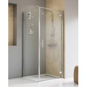 Schulte Home Porte de douche pivotante avec paroi latérale 100 x 100 cm, charnières battantes, ouverture vers la droite