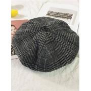 Plaid Pattern Woolen Beret