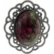 Inel reglabil zamac model floare cu rubin zoisit 18x13 MM GlamBazaar Reglabila cu Rubin zoisit Verde Roz tip inel din aliaj metalic