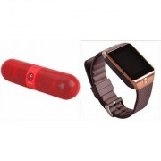 Zemini DZ09 Smartwatch and Facebook Pill Bluetooth Speaker for LG OPTIMUS L5(DZ09 Smart Watch With 4G Sim Card Memory Card| Facebook Pill Bluetooth Speaker)