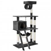 [en.casa]® XL Macskabútor - Macska kaparófa játékokkal és fekvőhellyel - szürke