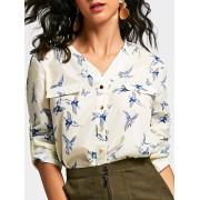 rosegal V Neck Long Sleeve Full Bird Print Shirt