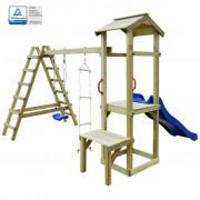 vidaXL fa játszóház csúszdával, létrákkal és hintával 286x228x218 cm