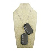 eshoppee Name Age Sex Dog tag us Army Locket Pendant Necklace Chain for Man and Women Silver)