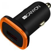 CANYON Universal 1xUSB car adapter, Input 12V-24V, Output 5V-1A, black rubber coating with orange electroplated ring(without LED