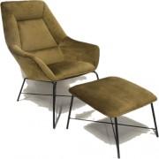 RGE Fotel Adele z podnóżkiem oliwkowy aksamit