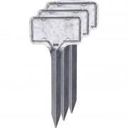 Merkloos 3x Zilveren moestuin/groentetuin/kruidentuin labelset 18 cm