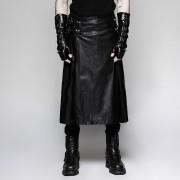 Punk Rave Metal Kingdom Buckled Long Kilt Black Q-324