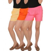 Culture the Dignity Women's Solid Rayon Shorts With Side Pockets Combo of 3 - Cream - Orange - Baby Pink - C_RSHT_COP2 - Pack of 3 - Free Size