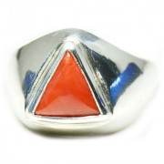 YogiGems 3.25 Ratti Certified Natural Coral Moonga Sterling Silver Bold Ring