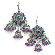 Digital Dress Women's Oxidized Earrings Indian Traditional Light Weight Purple and Turquoise Bead Work Design Multi Jhumki Silver-Plated Drop Long Earring for Women & Girls Fashion Imitation Jewellery