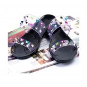 Pantuflas Mujer Estilo Punk Casual Flats Zapatillas Con Colorful Remaches -Negro