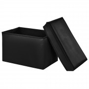 Сгъваема табуретка с място за съхранение [en.casa]® ,48cm x 32cm x 32cm, Черна