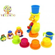 Verzabo Penguin Family and Waterfall Duck Bath Toy Play Set That Includes A Water Pail and Water Container Stack Set