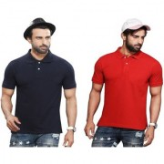 Kundan Sulz Gwalior's Exclusive for Men's 100% Pure-Cotton Polo Neck T-Shirt-Navy Blue & Red ( Pack of 2 T Shirt )