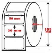 Rotolo da 1800 etichette adesive mm 50x30 Termiche 1 pista anima 40