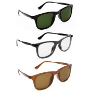 TheWhoop UV Protected Stylish Combo Wayfarer Day And Night Sunglasses For Men Women Boys Girls