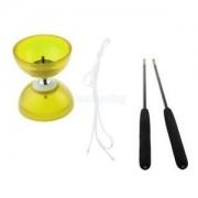 Alcoa Prime 3-Bearing Chinese Yo Yo w/ White String & Black Sticks Juggling Toy - Yellow