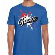 Bellatio Decorations France/Frankrijk t-shirt spetter blauw voor heren