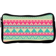 Snoogg Aztec pinkPoly Canvas Student Pen Pencil Case Coin Purse Utility Pouch Cosmetic Makeup Bag