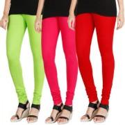 HRINKAR FLUROSCENT GREEN DARK PINK RED Soft Cotton Lycra Plain Salwar leggings combo Pack of 3 Size - L XL XXL - HLGCMB0802-XL